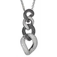 white gold pendant with black and white diamonds