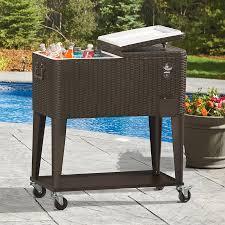 clevr outdoor patio rolling cooler 80 qt wicker ice beer chest cart brown rattan 0