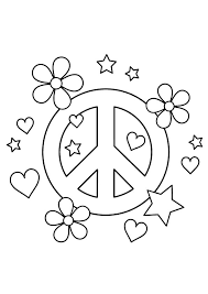 Small Picture Peace sign coloring pages hearts flowers stars ColoringStar