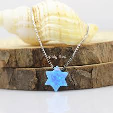 Wholesale Op06 Light Blue Star Opal Necklace 10mm David Star Necklace 925 Sterling Silver David Of Opal Stone Pendant Necklace Popular Pendant