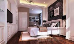 Black White Bedroom And Wooden Flooring Also Dark Wood Shade Plus