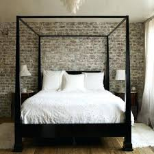 Black Wood Canopy Bed Full Size Gray Modern Futuristic Wall Large ...