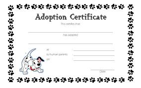 Pet Adoption Certificate Template Blank Adoption Certificate Template Mwb Online Co