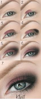 step by step tutorial showing you how to do a burgundy smokey eye make up look using 3 colours x eyebrow makeup tips