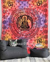 red om buddha sitting on lotus tapestry