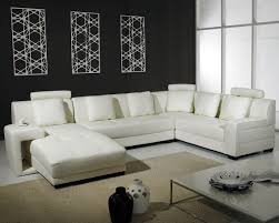 Splendid Pure White Leather Sectional Sofa With Modular Couch Integrated  With Sleeper And Throw Pillows On