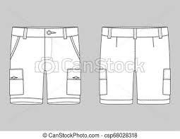 Shorts Design Template Technical Sketch Cargo Shorts Pants Design Template Cargo Pants