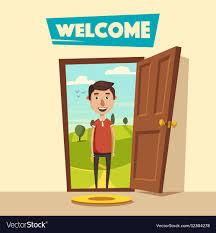 open door welcome. Contemporary Welcome Open Door Welcome Cartoon Vector Image For Door W