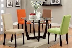 colorful dining room furniture sets with kitchen table sets four bright colors chairs made of upholstered and round table glass top