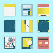 post business office. Vector - Square Icons Of Business, Office Supplies, Study Materials: Notebook, Calculator Post Business O