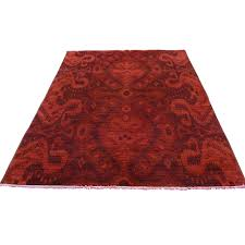 4 2 x6 4 hand knotted red cast ikat overdyed pure wool oriental rug sh35411