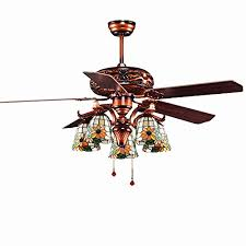 andersonlight classic vintage ceiling fan with lights for retro traditional living room tiffany lampshade 5 blades