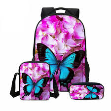<b>Veevanv 3 Pcs</b>/<b>set</b> Fashion 3d Butterfly Printing Bookbag Canvas ...