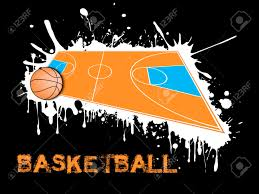 abstract basketball background basketball ball and field on a background of blots of paint