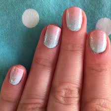 Light Pink and Blue Ombre Nails With Glitter by ...