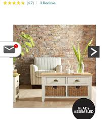 brand new cream oak coffee table with seagrass baskets bargain