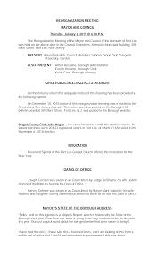 REORGANIZATION MEETING MAYOR AND COUNCIL Thursday, January 3, 2019 @ 6:00  P.M. The Reorganization Meeting of the Mayor and Counc