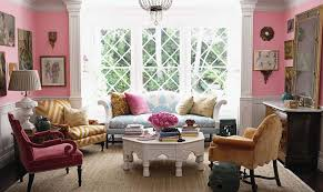 Interior:Small Chic Living Room With Heksagon Table And Pink Wall Color  Shabby Chic Interior
