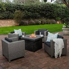 Puerta Outdoor 4 piece Wicker Chair Set with Square Firepit by