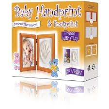 baby handprint footprint frame with clay brown english version photo