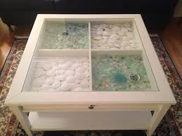 Sea Glass U0026 Sand Dollars Displayed In A Glass Top Coffee Table. This Is My
