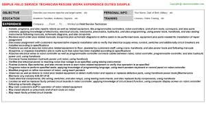 Field Service Technician Resume Resumes Templates
