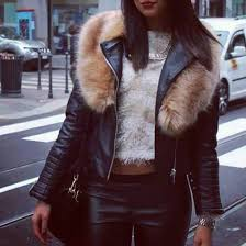 jacket jacket clothes fur leather leather jacket fur collar black beige city girl edgy cool fashion hipster grunge girly urban wheretoget