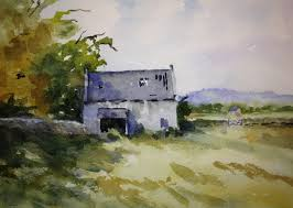 our homework we were to paint from a famous artist description from foggsblogg watercolor landscapewatercolor