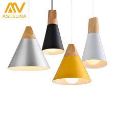 Wooden Nordic Pendant Light For Home Lighting Modern Hanging Lamp Aluminum Lampshade Led Bulb Bedroom Kitchen Light Iron E27
