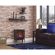 duraflame 1000 sq ft infrared electric fireplace stove with remote control in bronze