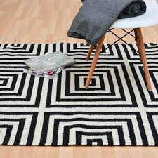 details about plantation frankie black ivory 01 geometric wool rug in various sizes