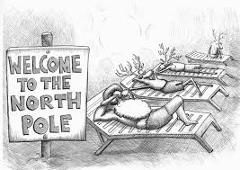 this describes global warming because at the north pole the this describes global warming because at the north pole the weather is very cold and zing but in this picture it is illustrating that the no