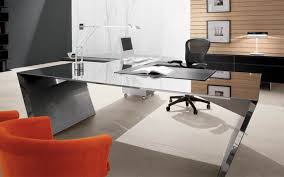 modern glass office desk. Modern Glass Office Desk And Black Mesh Back Executive Chair Also Orange Fabric Chairs F