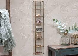 bequai brass glass wall hanging cabinet trinket jewellery display shelves storage
