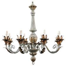 chandeliers wood and metal chandelier french painted and gilded eight light wood and metal chandelier