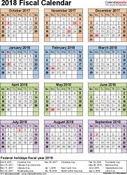 Calendar Year Quarters Fiscal Calendars 2018 Free Printable Pdf Templates