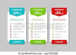 Comparison Chart Infographic Comparison Pricing List Price Plan Table Product Prices Comparative Tariff Chart Business Infographic Option Banner Vector Template