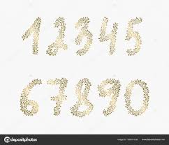 flyers numbers vector hand drawn numbers golden elements for backgrounds of flyers