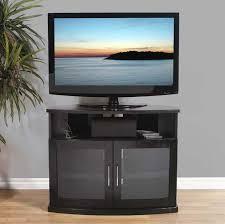 plateau newport series corner wood tv cabinet with glass doors for regarding newest black corner tv