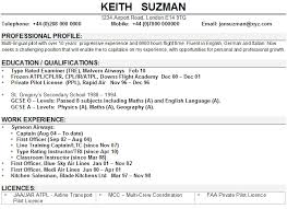 Cv Writing Examples Personal Profile Pilot Cv Sample