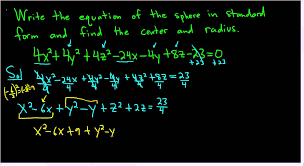 equation of the sphere in standard form center and radius the math sorcerer
