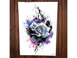 Vodeodolné Dočasné Tetovanie Motiv Růže Farebná