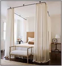 Ceiling Canopy Bed Curtains | Curtain Rods Hang From The Ceiling To  Simulate A Canopy Bed