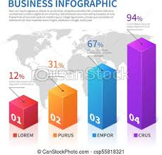3d Chart Vector Abstract Infographic 3d Bar Finance With World Map Vector Chart