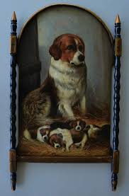 antique papier mache mother dog pups screen from antiquepooch on ruby lane