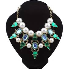 hot big necklace artificial pearl native american necklace bohemian style jewelry whole statement necklace