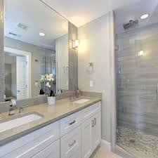Modern bathrooms Wood Small Minimalist 34 Gray Tile And Stone Slab Ceramic Floor Double Shower Photo In Houzz 75 Most Popular Modern Bathroom With White Cabinets Design Ideas For