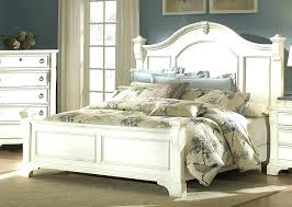 Distressed White Wood Bed Frame Rustic Metal Frames King Double Home ...
