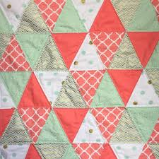 Modern Triangle baby quilt in Coral, Mint, and Gold from Bobbin ... & Modern Triangle baby quilt in Coral, Mint, and Gold from Bobbin-Baby Quilts Adamdwight.com