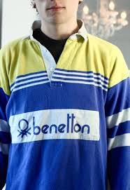 vintage rare 80s benetton rugby shirt yellow blue striped